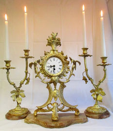 Three-part clock set made of bronze on marble plate - France - 20th century