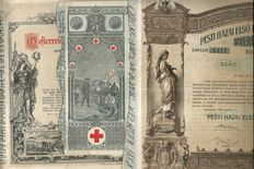 Charities;  lot of 8  decorative items: (Pester  Sparcasse, Leopold Basilika, Köningin Elisabeth Sanatorium, Red Cross, Het Witte Kruis etc) 1880-1912