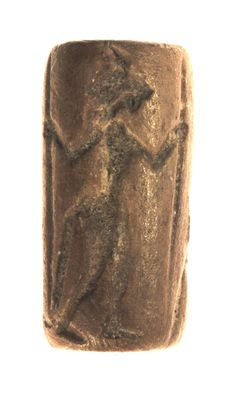 Cylinder seal Two figures with lion and horse head, clay - h = 29.4mm