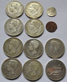 Spain – 12 varied coins – 1726 to 1898