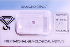 Natural fancy intense purple pink diamond – 0.07 ct with IGI certificate
