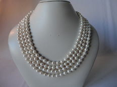 Length 165 cm - Very long white fresh water pearl necklace with – silver pearl ear studs.