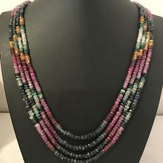 Adjustable natural stone necklace in rainbow style  with sapphires, rubies, emeralds and citrine.