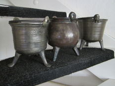 """Three early Bronze holy water buckets or """"grape"""" pot with ears -France and Low Countries-16th-18th century"""