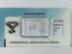 Diamond in old mine cut, 0.45 ct.  H VS1 with IGI certificate.