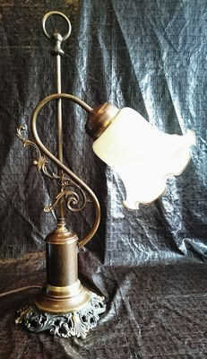 Bronze lamp with cream glass