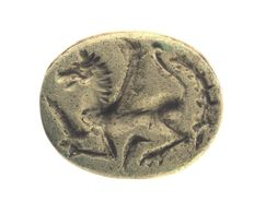 Scarab Winged horse, Assyro - Babylonian, 8th - 7th century B C, limestone - height = 23.9mm