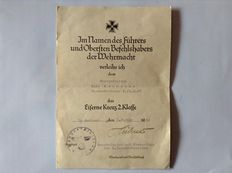 Award certificate Iron Cross 2nd class and booklet for school dismissal 1939, How can I join the navy, the German fleet and the war discipline regulation in the 1942 version