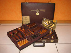 70-Piece gold-plated cutlery case - Model: Wien