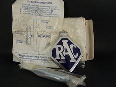 Boxed Unused RAC Royal Automobile Club Enamel Chrome Auto Car Club Badge with Fixings and Instructions