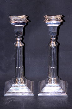 Pair of Solid Silver Column Candlesticks, Made in Birmingham 1929