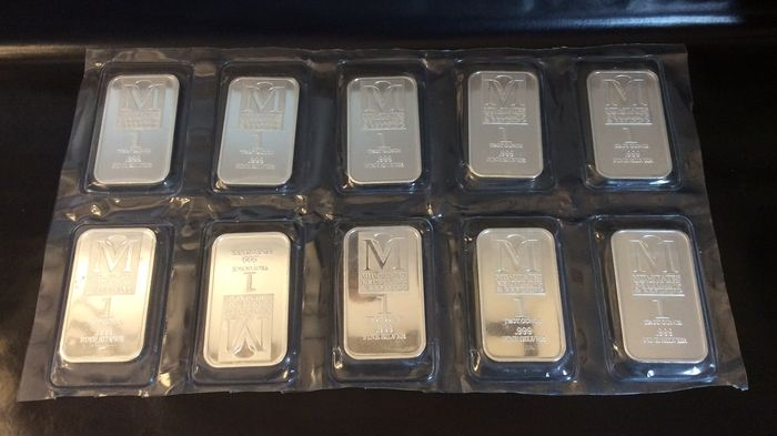 U S A - 10 items silver bars, 10 x 1 oz 999, Mid-States Recycling &  Refining - Catawiki