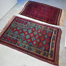 Two beautiful old nomad Beluch Persian carpet - characteristic carpets - NO RESERVE