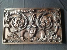 Carved oak wood panel as top light - Holland - 17th-18th century