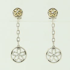 Solid 925/1000 silver earrings + 18 kt gold 750/1000 with genuine diamonds