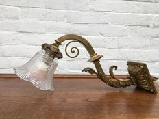 Antique wall lamp - bronze - cut lamp shade - early 1900s