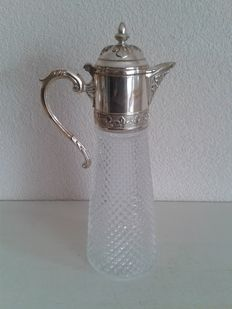 Claret jug with silver plated handle and lid, England, approx. 1920