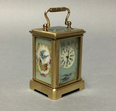 Miniature brass carriage clock with porcelain – Period end 20th century