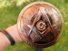Beautiful walking stick with Masonic logo - 20th century