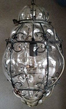Large Venetian lamp - glass with metal - Italy - 2nd half 20th century