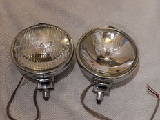 A Pair of Chrome 1970's Lucas Matching FT/LR6/9 One Spot light and One Fog light in Very good Used Vintage Condition