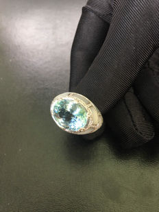 Diamond Ring - Deep Blue For You - Gold 18K - Natural Loose Diamonds  0,50 - Natural Acquamarine Ct 5,35 - New Collection 2017