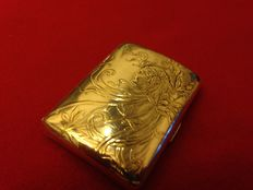 Fine and elegant silver plated cigarette case - Art Nouveau period - late 19th/early 20th C