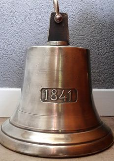 Heavy large copper ship's bell with inscription '1841'