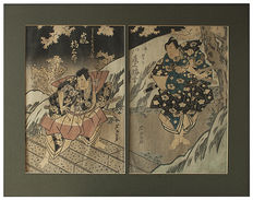 Dyptich woodcuts by Gigado Ashiyuki, Samurai at night – Osaka school, Japan – around 1822