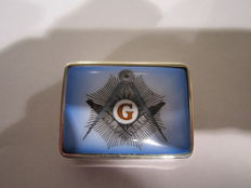 Silver box with enamel top - logo Freemasonry