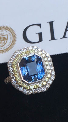 18K gold ring sapphire 5.52ct and diamond 1.18ct - GIA certificate - Ring size 12