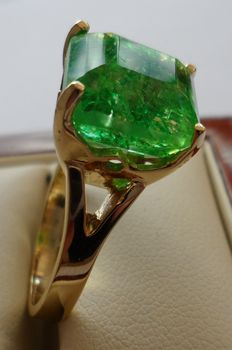 8.70 ct Certified Green Emerald Square Shaped in New Designed Ring of 14K Solid Yellow Gold.