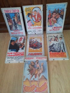 7x Movie posters - frames - original 50-ties style posters - size 46x26cm & 46x29cm - Charlie Chaplin, Jerry Lewis, Laurel & Hardy, Fernandel, Abbott & Costello