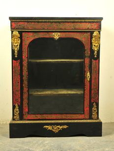 A Napoleon III Boulle style vitrine cabinet - brass and faux tortoiseshell marquetry, ebonised veneer and ormolu mounts - France - second half 19th century