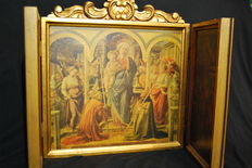 Religious Icon Triptych 82x43 made in Gold Leaf, 20th century.