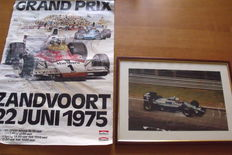 Zandvoort Grand Prix F1 1975 poster and original photo autographed by driver Andrea De Cesaris (1959-2014) framed
