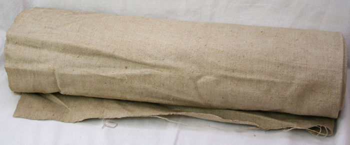 Beautiful old roll of pure ivory-coloured linen, fabric bolt, Germany, ca 1900
