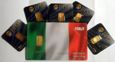 6 pcs. gold bars Nadir PIM fine gold 999.9/1000 sealed 24 Karat Goldbarren Bullion Gold LBMA certified;  1 peace 0.5g  Giftcard banner ITALY,  5 pcs. Goldbars each 0.10g