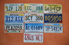 License plates USA, 10 pieces, special and difficult to find states New Jersey, Hawaii, and others