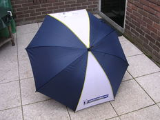 Original unique Michelin Umbrella 85 cm - dark blue yellow white, late 20th century