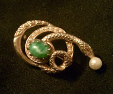 Gold Tone Snake Brooch Pin With Green Scarab & Pearl