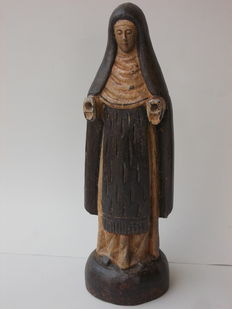 Ancient wooden statue of Saint Rita of Cascia, Italy, 20th century