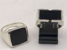 2 different large solid silver men's rings with onyx