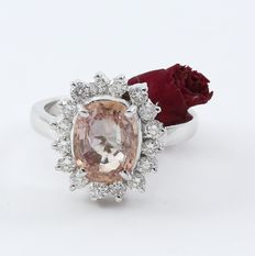 White Gold Deaigner Ring with Large 3.48 ct. Padparadscha sapphire ( IGI Certified ) and Diamonds