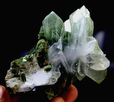 Green Chlorite included Quartz Crystal Cluster - 80 x 87 x 52 mm - 137gm