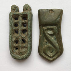 Lot of two Avarian Bronze parts of warriors Belt / 33mm(2)