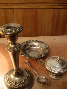 4 Pieces - Candlestick, Christofle Spoon, Ring Dish and Italian Cup
