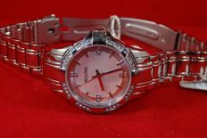 Bulova Ladies Crystal Silver Steel link strap women's wristwatch