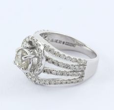 White gold  0.93 ct. Center Solitaire diamond ring with Side diamonds of 1.48 ct. -Total diamond weight 2.41 ct.
