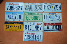 License plates USA - 10 items (incl. California)